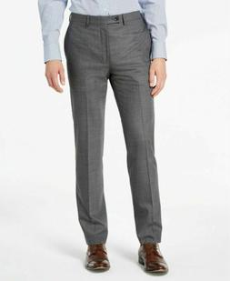 $175 Calvin Klein Slim-Fit Stretch Gray Sharkskin Dress Pant