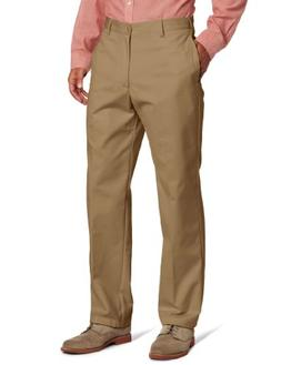 IZOD Men's American Chino Flat Front Pant, English Khaki, 29