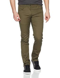 WT02 Men's Basic Color Twill Stretch Span Pants, Olive, 30X3