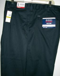 Big Mens IZOD Classic Fit Pleated Front Navy American Chino