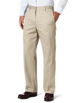 IZOD Men's Big and Tall Flat Front Extended Twill Pant, Khak