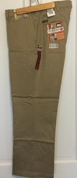 Lee Custom Fit Waist Pants Men's Relaxed Fit Flat Front Mid