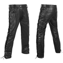 DEFY Men's Motorbike Cow Leather Jeans Style Side Laces Nigh