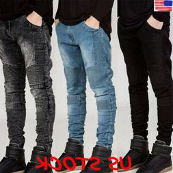 Fashion Mens Designed Straight Slim Fit Biker Jeans Pants Sk