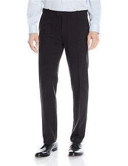 Van Heusen Men's Flex Straight Fit Flat Front Pant, Black, 3