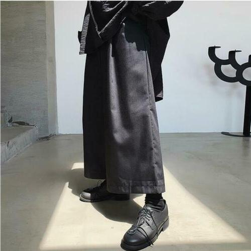 19Summer Dark Mens Loose Straight Casual Hair Stylist Youth Wide Pants