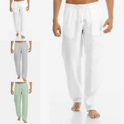 Linen Pants Trousers Mens Loose Male Solid