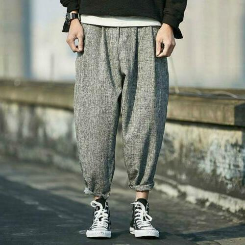 Men Linen Baggy Loose Capri Oversize