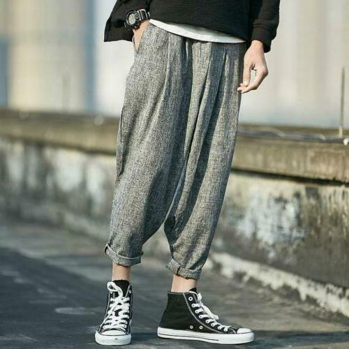Men Linen Trousers Baggy Capri Pants