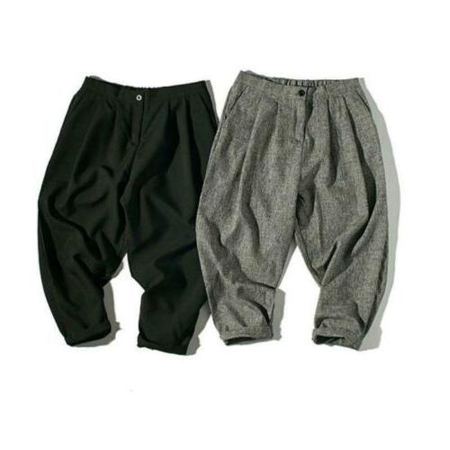Men Harem Linen Baggy Leisure Capri Pants
