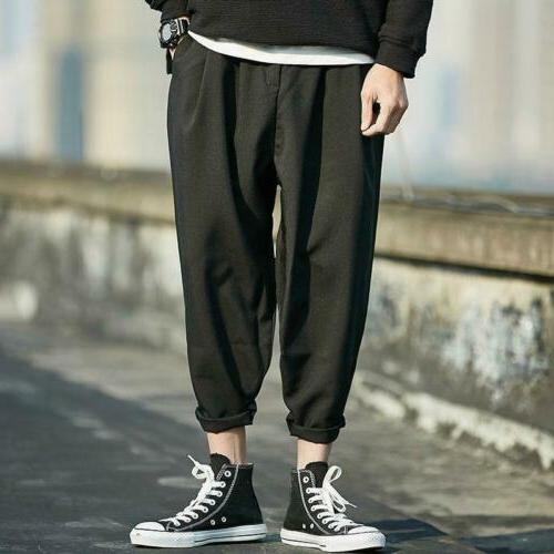 men harem linen trousers baggy loose leisure