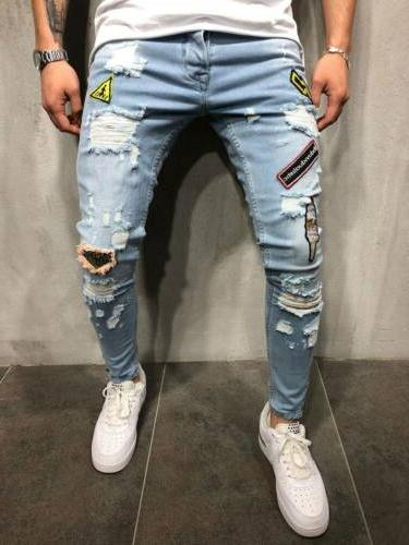 Men's Ripped Jeans Frayed Slim Fit