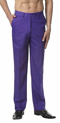 CONCITOR Men's Dress Pants Trousers Flat Front Slacks Solid