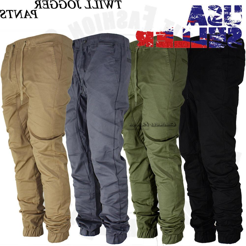 Mens Pants Twill Joggers Hip Jogger Trousers