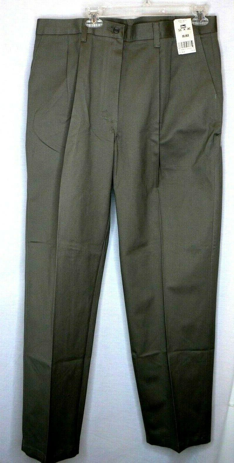 Lee Mens double pleat relaxed wrinkle olive cotton 36-32