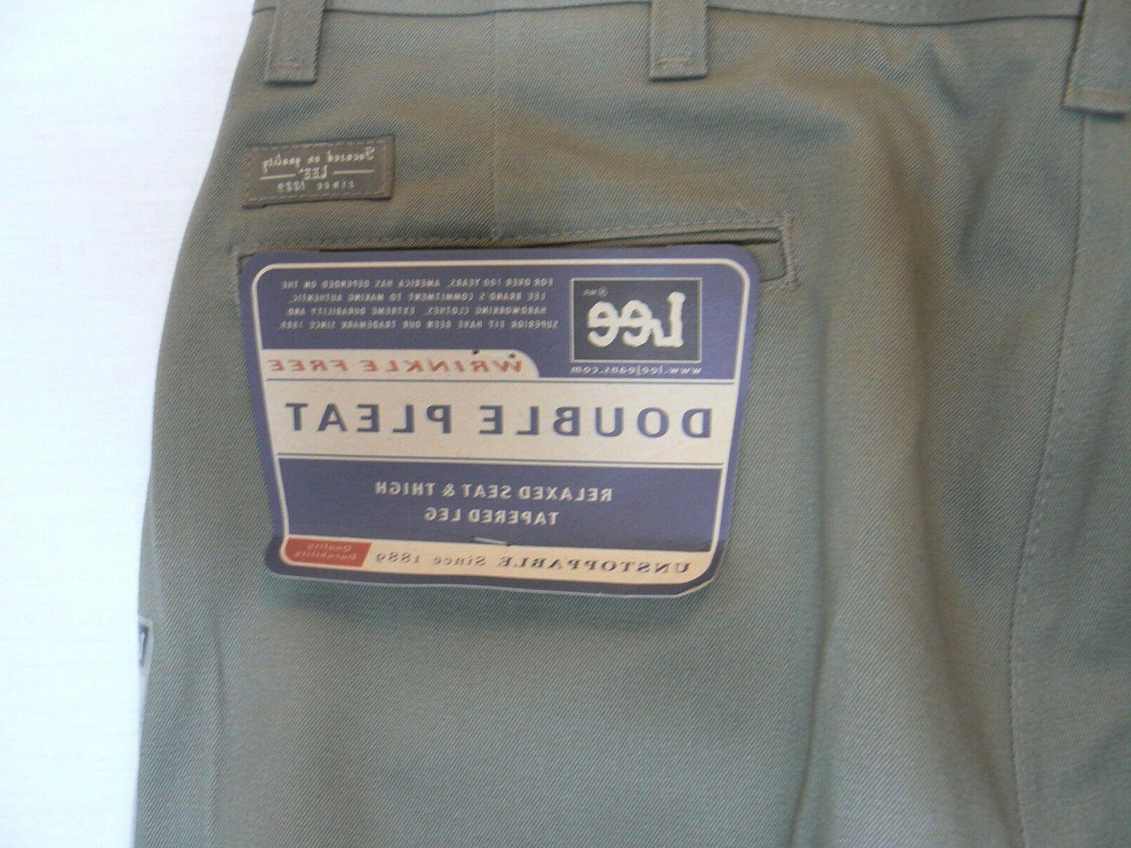 Lee pleat relaxed fit free olive pants 36-32