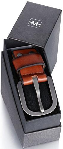 Men's Leather Front - Strap by Ave - Black - 36
