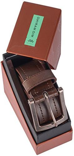 "Marino Avenue Genuine Leather Belt, Classic Jean Style, 1.5"" Coffee 2-52"