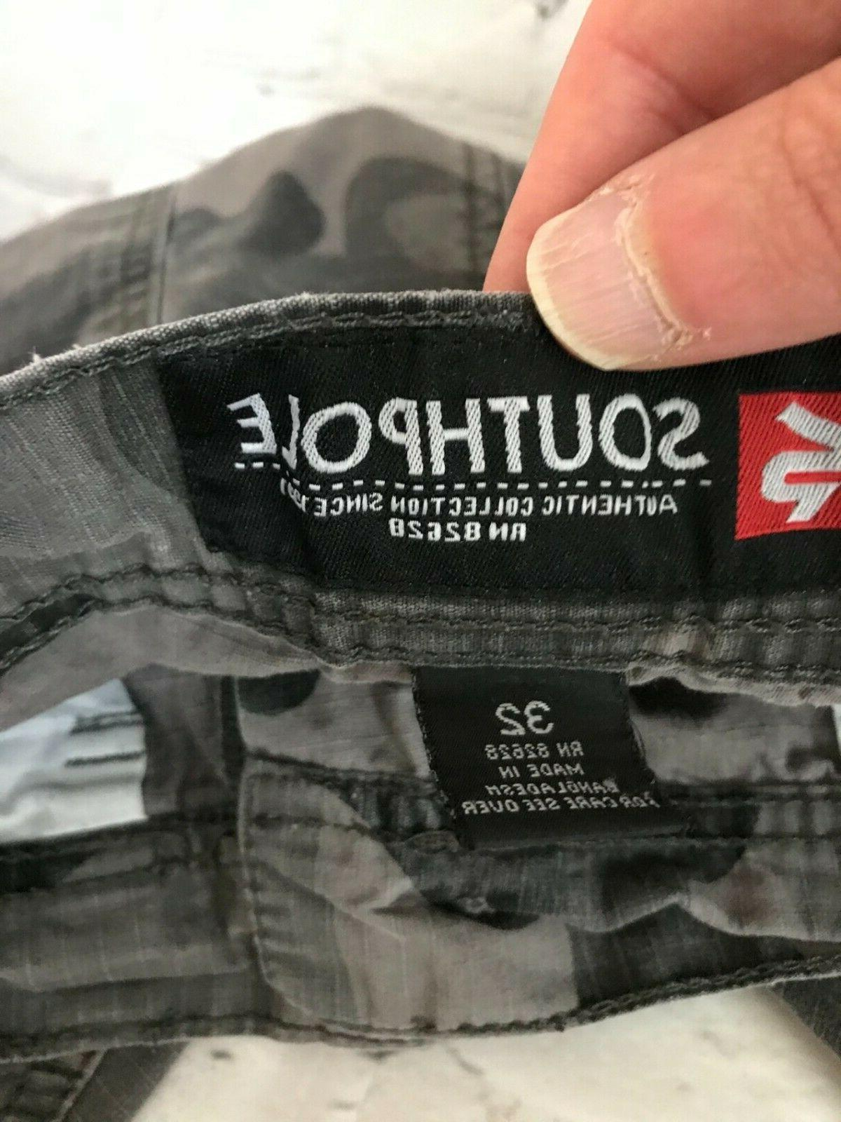 Southpole Mens Gray Cotton High Rise Flat Cargo 32