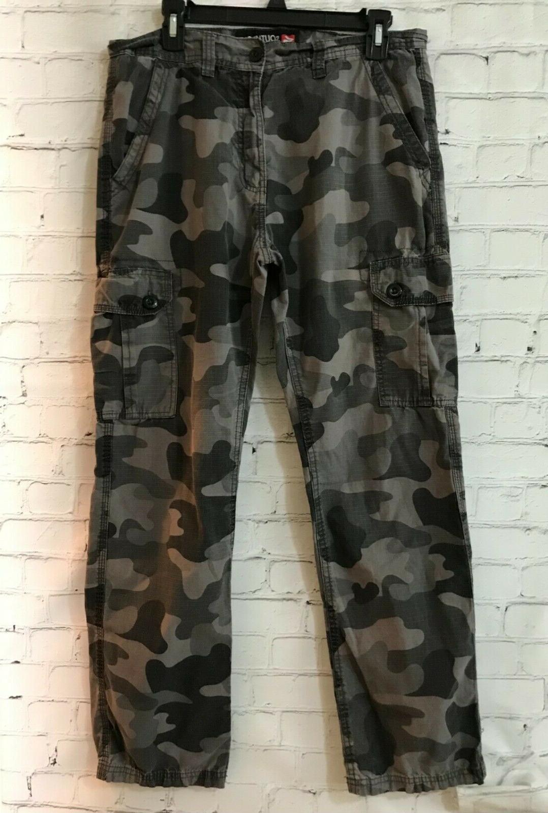 mens gray camouflage cotton high rise casual
