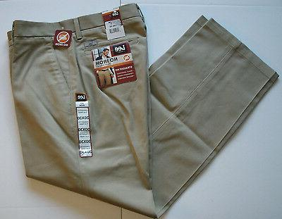 Mens Lee Khaki Pants No Iron Striaght Fit Flat Front Classic