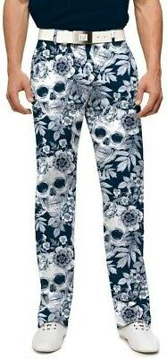 LOUDMOUTH GOLF mens pants SKULL GARDEN Stretch Tech Polyeste