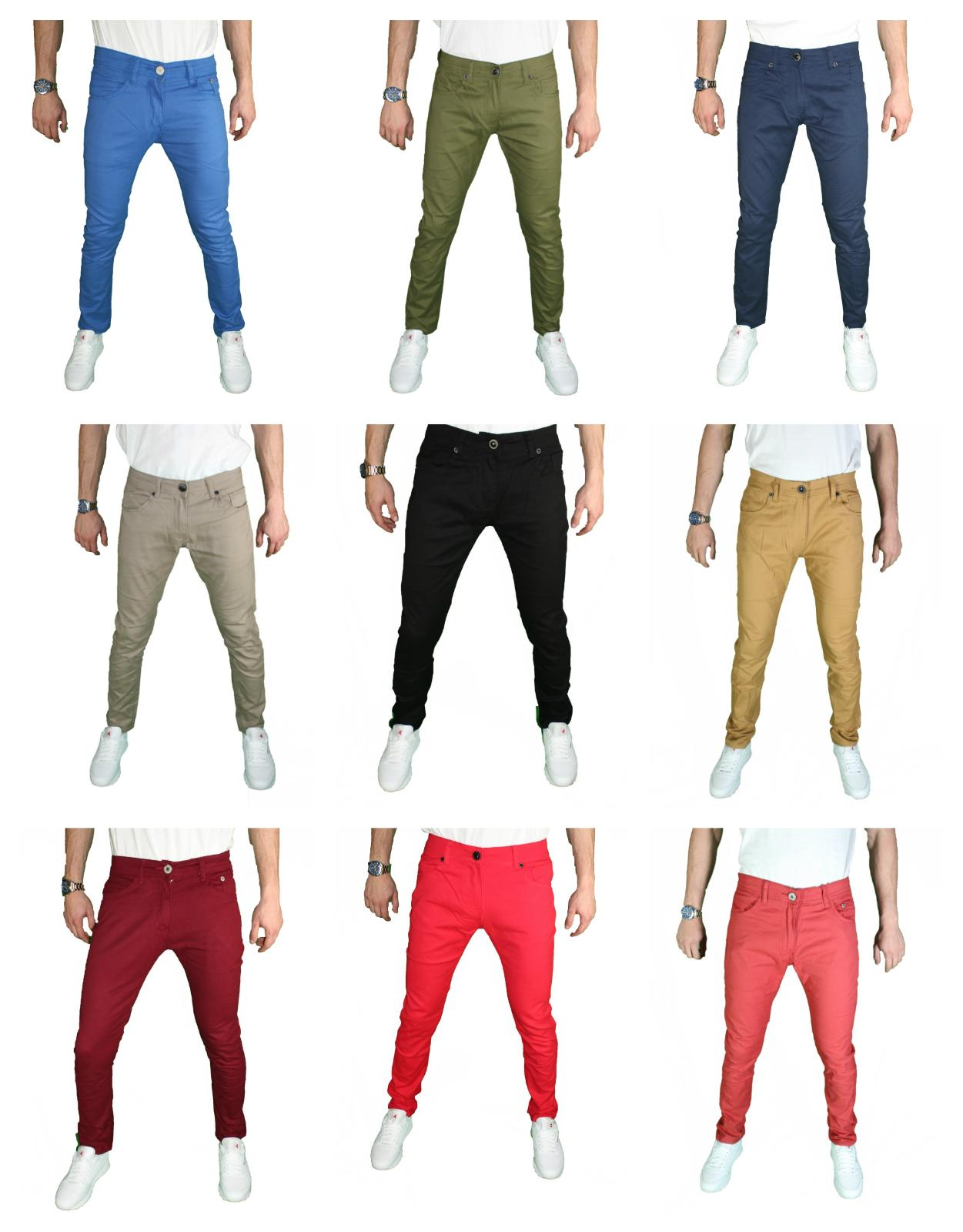 Mens Slim Fit Stretch Pants Fashion Casual Trouser Chino Jea