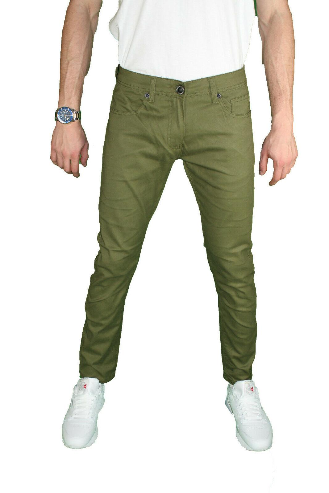 Mens Slim Stretch Pants Casual Chino Jean NEW