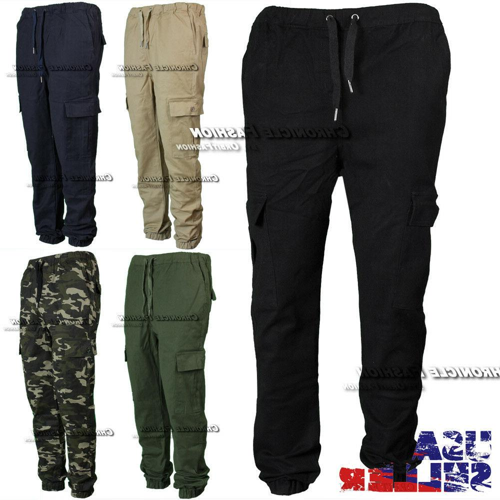 mens twill cargo pants pocket jogger stretch