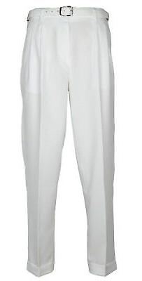Mens White Dress Pants Big & Tall Pleated Slacks With Belt N