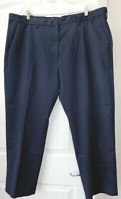 IZOD Navy Blue stretch CHINOS KHAKIS flat front PANTS MEN'S