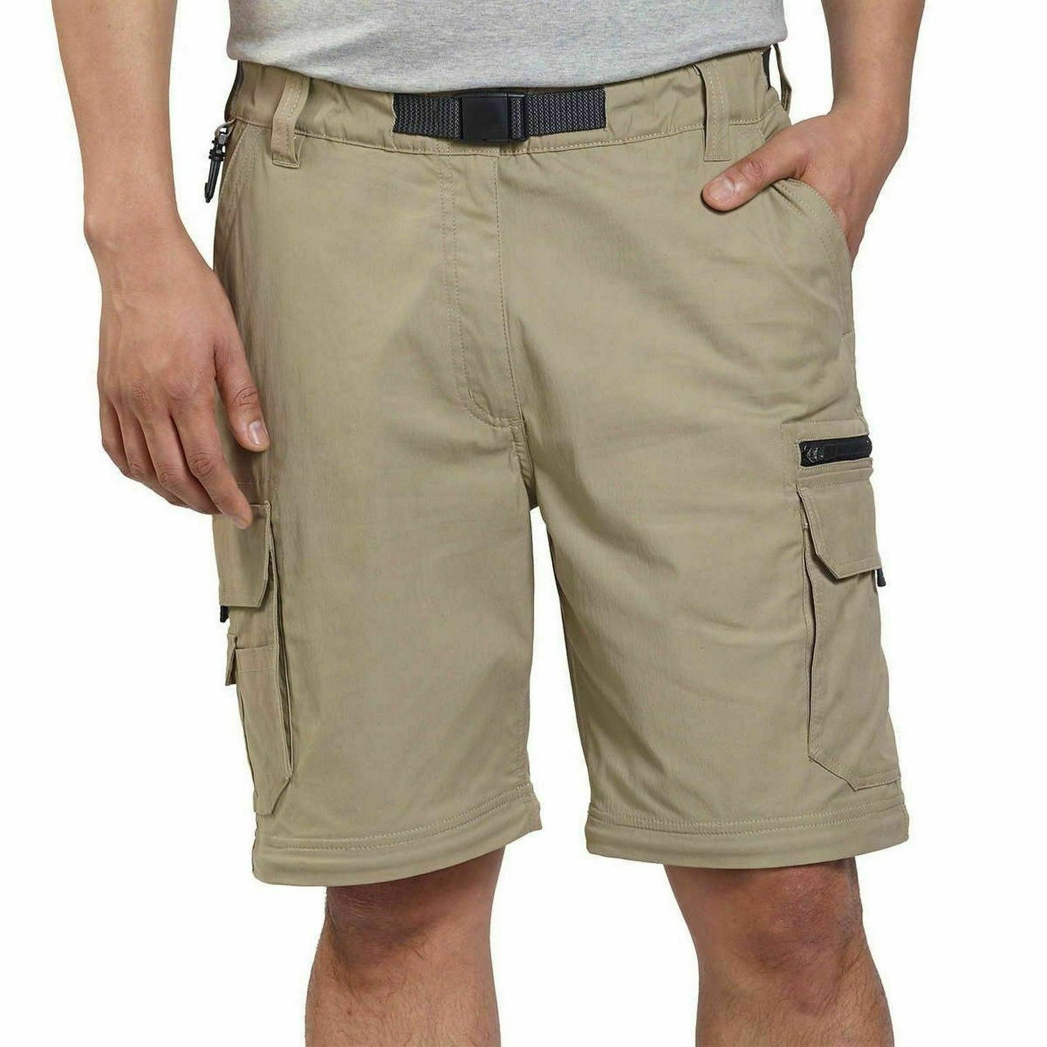 NEW Men's Hiking Convertible Cargo Stretch Pants, Sand, Small