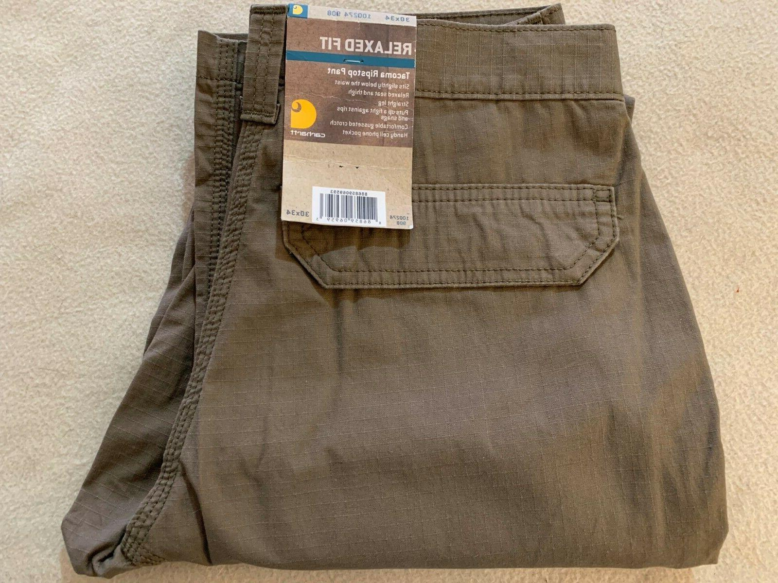 Size 30 x 34 Carhartt 100274 908 Tacoma Ripstop Pants Brown