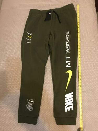 Nike Sportwear Pants Size Large Fleece Olive Green Rare