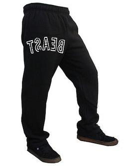 Men's Beast Black Fleece Sweatpants Training Gym Workout MMA