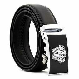 KHC Men's Belt 100% Leather Belt Ratchet Automatic Adjustabl