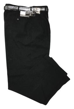 Men's Big and Tall BLACK Dress Pants W/ BELT - PLEATED SLACK