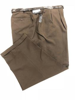 Men's Big and Tall BROWN Dress Pants W/ BELT - PLEATED SLACK