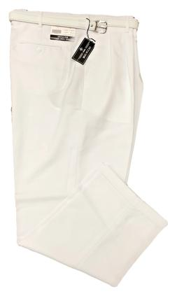 Men's Big and Tall WHITE Dress Pants W/ BELT - PLEATED SLACK