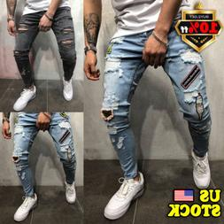 Men's Biker Ripped Skinny Jeans Destroyed Frayed Slim Fit De