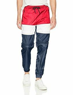 Southpole Men's Colorblock Athletic Wind Pants,, Navy/Zip Of