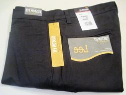 Men's Lee Custom Fit Relaxed-Fit Flat-Front Pants Black Size