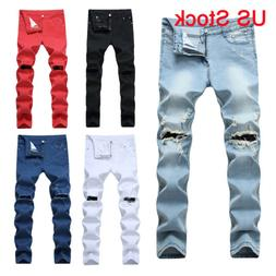 Men's Denim Ripped Distressed Jeans Washed Stretchy Tapered