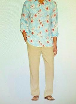 Men's 28 Palms NWOT Relaxed Fit 100% Linen Pant With Drawstr
