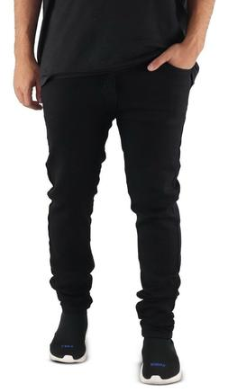 Men's BLACK Stretch Jeans Skinny Fit Moto Denim Jeans Pants