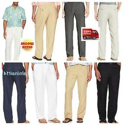 28 Palms Men's Relaxed-Fit 100% Linen Pant with Drawstring L