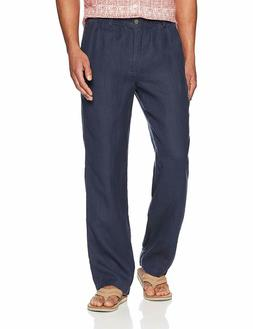 28 Palms Men's Relaxed-Fit Linen Blue Night Pant With Drawst