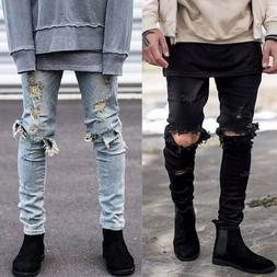 Men's Ripped Biker Jeans Skinny Slim Fit Denim Pants Destroy