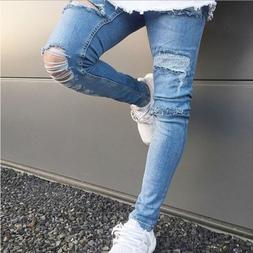 Men's Skinny Stretch Jeans Distressed Ripped Jeans Freyed De