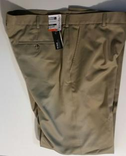 Van Heusen mens 38 x 32 beige pants Slim-Fit No-Iron Stretch